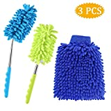 "Extendable Duster Long Reach to 29.5""+Microfiber Wash Mitt for Home Office Car- SOSMAR Bendable Duster Dusting Brush with Telescoping Pole, Duster Head Washable 3 Set"