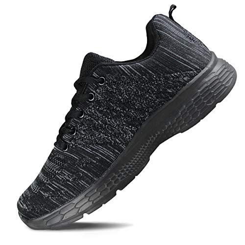 Hawkwell Women's Running Shoes Knit Breathable Lightweight Athletic Walking Sneaker 1951-all Black