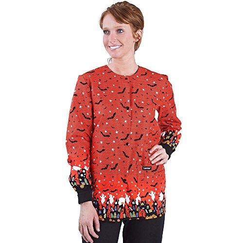 Landau Women's Crew Neck Warm-up Halloween Print Scrub Jacket Medium Print -