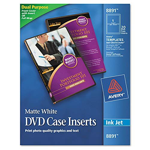 Avery 8891 Inkjet DVD Case Inserts, Matte White (Pack of 20)