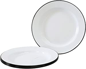 Enamelware - Set of 4 - Dinner Plates - Solid White with Black Rim