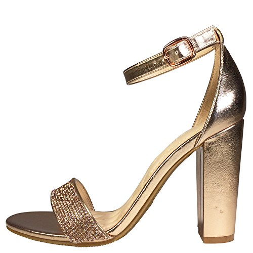Bamboo Womens Single Band Chunky Heel Sandal With Ankle Strap Rose Gold Pu With Rhinestones H7IZ7