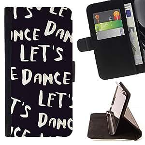 For LG G4 Stylus / G Stylo / LS770 H635 H630D H631 MS631 H635 H540 H630D H542 Case , Vamos a bailar Texto Negro Blanco Viñeta- la tarjeta de Crédito Slots PU Funda de cuero Monedero caso cubierta de piel