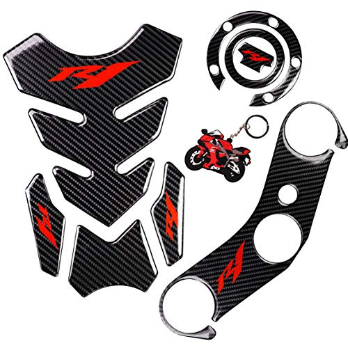 REVSOSTAR 5D Real Carbon, Motorcycle Gas Tank Protector, Tank Pad Sticker, Tank Cap, Fuel Cap Decal, Top Clamp Triple Tree Pad with Keychain for Yzf R1, 4 Pcs Per - Yamaha R1 Carbon