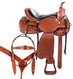 AceRugs Comfy CUSH Western Saddle Premium Leather SEAT Pleasure Trail Riding Ranch Work Classic Cowboy Horse TACK Set
