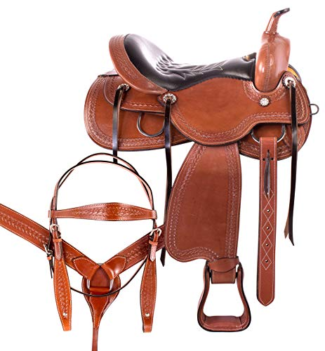 Western Riding Saddle Set - AceRugs Comfy CUSH Western Saddle Premium Leather SEAT Pleasure Trail Riding Ranch Work Classic Cowboy Horse TACK Set (Chestnut, 17)
