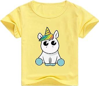 Camisetas Unicornios para Niñas Dibujos Animados Casual Camiseta de Verano Camisetas Niña de Manga Corta Tops T-Shirt: Amazon.es: Ropa y accesorios