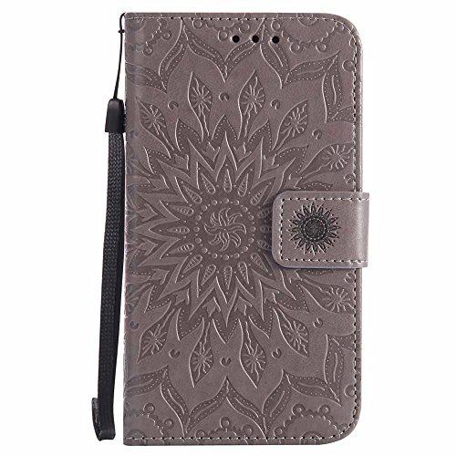 Lumia 640 Case, Dfly Premium Soft PU Leather Embossed Mandala Design Stand Function Card Slot Holder Slim Flip Wallet Cover for Nokia Microsoft Lumia 640, Grey