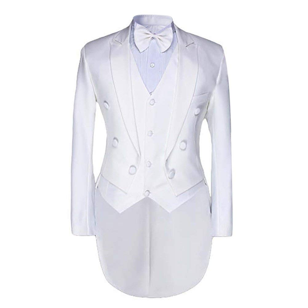 Men's luxury Casual Stylish Dress Suit Slim Fit Blazer Coats Jackets & Vest & Trousers,XXXXX-Large,White