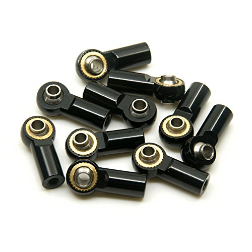 10Pcs Link Rod End Joint Aluminum M3 Metal Ball End Head Holder Tie for 1/10 RC D90 Axial SCX10 F350 (Black)