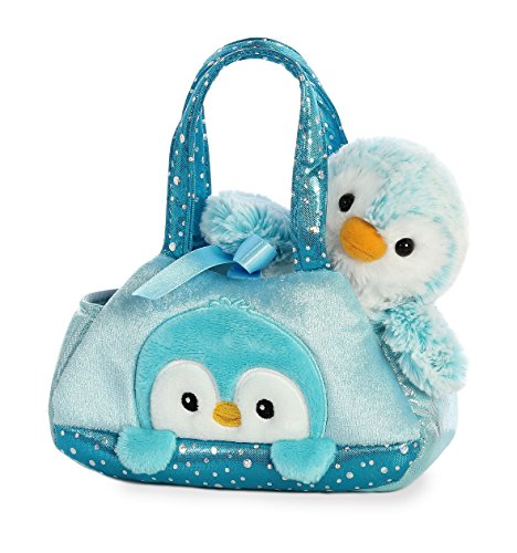 Aurora World Fancy Pals Peek-A-Boo Purse Pet Carrier Pom Pom Penguin, Blue (Boo Purse)