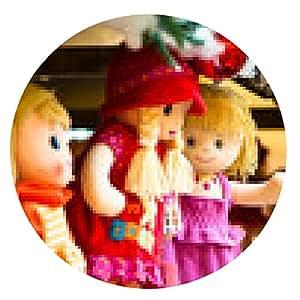 alfombrilla de ratón Las muñecas de trapo en un mercado de Navidad - ronda - 20cm