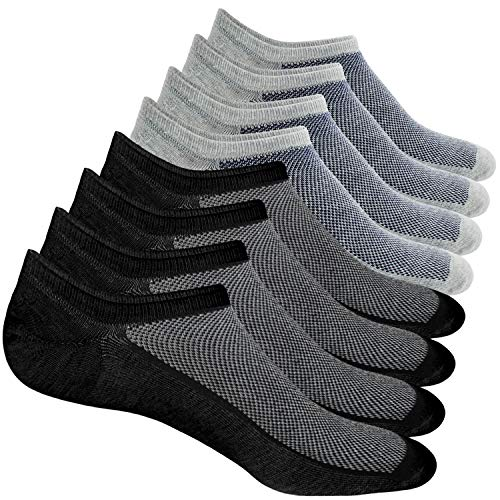 Casual Mens Socks - 8 Pairs No Show Socks Men Low Cut Non-Slip Invisible Casual Loafer Boat Socks (Black&Grey, S/M(US Men Shoes Size 6-11))