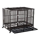 PawHut 42' Heavy Duty Steel Dog Crate Kennel Pet Cage w/Wheels - Brown Vein