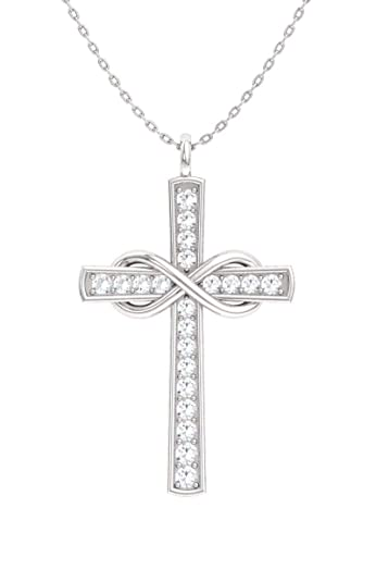 5d631b10eeaa44 Image Unavailable. Image not available for. Color: Diamondere Natural and  Certified Diamond Cross Infinity Necklace in 14k White ...