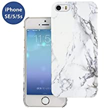 iPhone SE White Marble Pattern Snap-on PC Crystal Case, Novo Glossy Hard Shell Phone Cover w/ Smooth Touch Finish, Slim & Sleek, Best Protection & Most Stylish for Your iPhone SE/5/5S (4 inch Display)