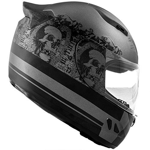 DOT Motorcycle Helmet Full Face KOI Skull Art Matte Grey w//Clear Visor Large