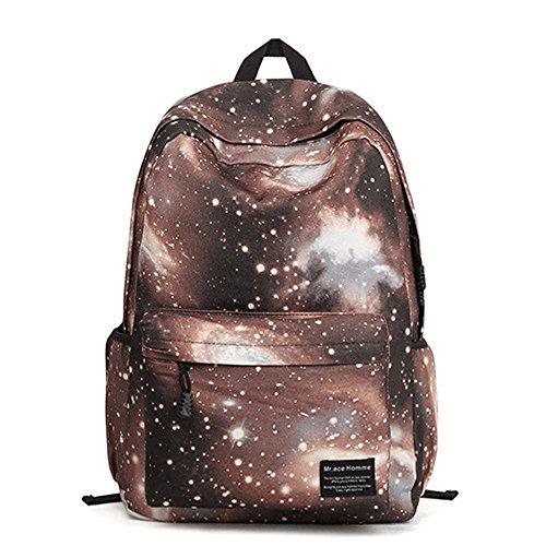 Minetom Universo Estrellas Nebulosa Nylon Backpack Mochilas Escolares Mochila Escolar Casual Bolsa Viaje Moda marrón