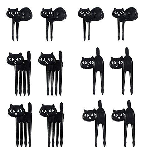 (12 Pcs Cute Black Cat Cartoon Animal Food Fruit Picks Forks for Kids Bento Box Lunch Box Decor, Fruit Party Picks)