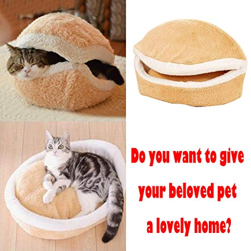 (Haozin Cute Cat Dog Pet Bed, Hamburger Shape Lovely Pet Supplies for Cats Kittens Rabbit Small Dogs Bed Detachable Windproof Warm Pet House)