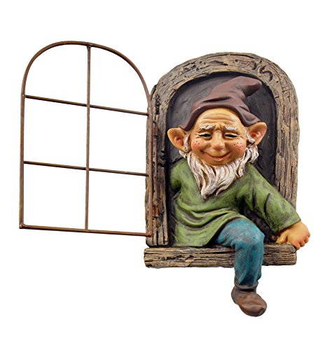 Red Carpet Studios 49063 Garden Gnome in Window Tree Face, Beard]()