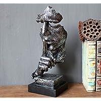 PP&DD Il Silenzio è Oro Figurine,Creativo Astratto Mestieri Statue,Sculture.per Ufficio Soggiorno Art Regalo Decorazioni Casa