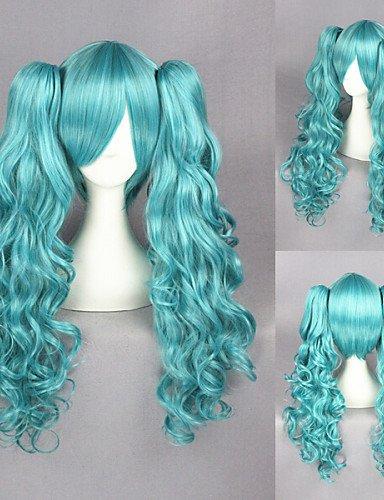Fashion Wigstyle vocaloid-miku blu misti Cosplay parrucca + 2PONYTAILS sulla vendita a buon mercato