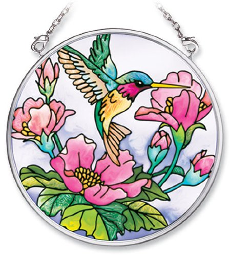 Amia 7257 Hand Painted Glass Suncatcher with Hummingbird Design, 3-1/2-Inch Circle