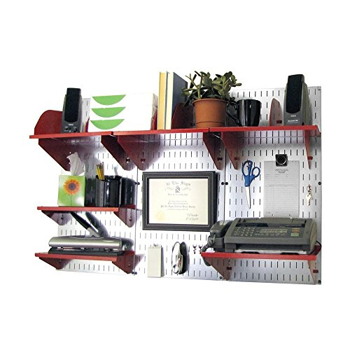 Wall Control 10-OFC-300 GVR Office Wall Mount Desk Storage and Organization Kit, Galvanized/Red