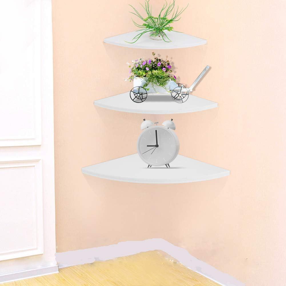 ebtools estantería de pared angular–Juego de 3estanterías flotantes estantería esquinera para salón dormitorio color blanco capacidad máxima: 10kg
