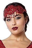 Julia Vintage Inspired Flapper Headband in Red