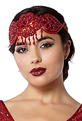 Julia Vintage Inspired Flapper Headband in Red