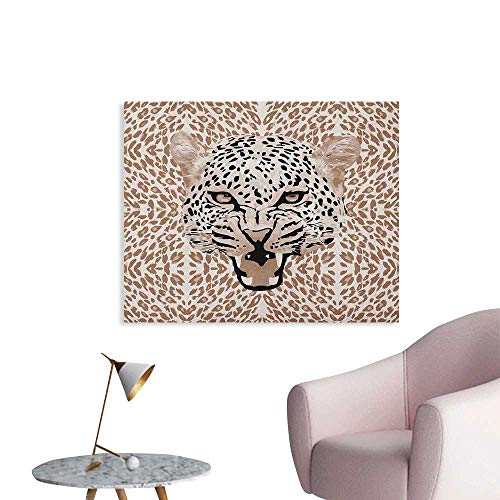 (Anzhutwelve Modern Photographic Wallpaper Roaring Leopard Portrait with Rosettes Wild African Animal Big Cat Graphic Funny Poster Cocoa Beige Black W28 xL20)