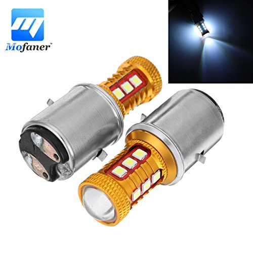 CALAP-STORE - 1 Pair B20D Motorcycle Scooter Headlight Bulbs 15W 6500K LED Motorbike ATV Moped Head Lamp