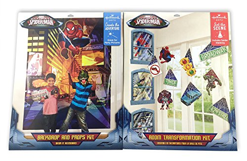 [2 KITS: Spider-Man Room Transformation Kit AND Photo Backdrop and Props Kit] (Superheros And Villians)