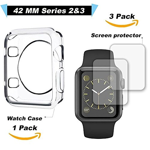 Carvesky Apple Watch Case 42mm TPU Iwatch Cover for Series 2&3 with 3 Pack of Apple Watch Screen Protector, Smart Watch Protector Set [30 Days & Unconditional Replacement ]