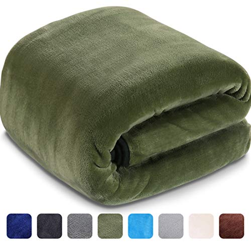 LEISURE TOWN Soft Blanket Queen Size 3D AIR-Fiber Fleece Cooling Blankets for All Season Lightweight Warm, Luxury Cozy Plush Throw Blanket for Sofa Bed Couch, 90 by 90 Inches, Natural Green (Comforter Fleece Brown)