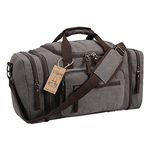 Ulgoo Travel Duffel Bag Canvas Bag Leather Weekend Bag Overnight - Certificate Resolution