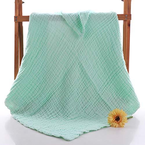 Baby Bath Towel,Newborn Pure Cotton Yarn Washcloth (Green, 100100cm) -