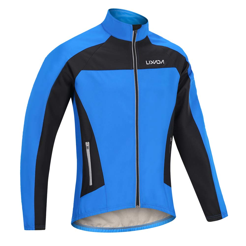 Lixada Men's Winter Warm Cycling Jacket Windproof Waterproof Thermal Fleece Long Sleeve Riding Bicycle Bike Wind Coat