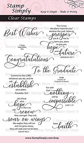 Stamp Simply Clear Stamps Scripture for Graduation and Beyond Congratulations Graduate 4x6 Inch Sheets - 8 Pieces