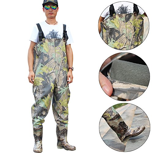 Sougayilang Camouflage Waterproof Boot-Foot Chest Waders Fly Fishing Hunting Boot (#8)