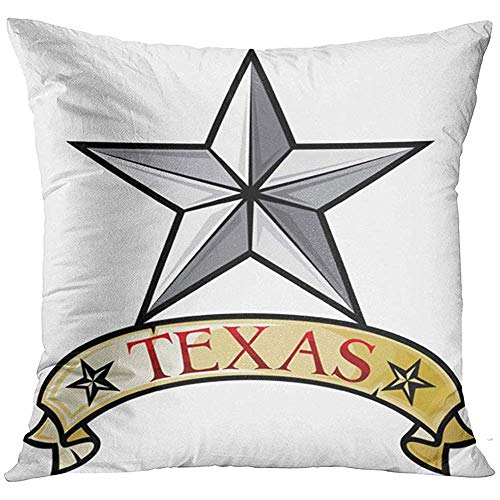 Throw Pillow Cover Emblem White State Texas Lone Star Symbol Silver Cowboy Country Label Tattoo Decorative Pillow Case Home Decor Square 18x18 Inches Pillowcase