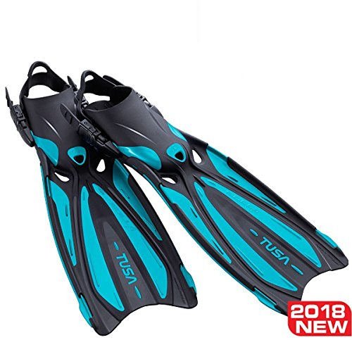 Open Heel Fins - TUSA SF-22 Solla Open Heel Scuba Diving Fins, X-Small, Ocean Green