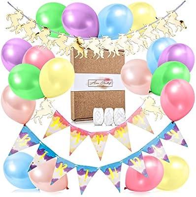 amazon com Âme creatif unicorn happy birthday banner 25 piece