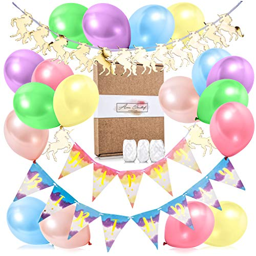 ÂME CREATIF Unicorn Happy Birthday Banner | 25 Piece Shiny Gold, Pre-Assembled Party Decorations Kit | Cute, Magical, Rainbow, & Unicorn-Themed Garland & Balloons | BONUS FREE EBOOK