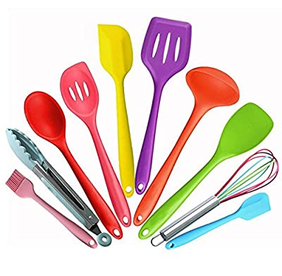 BHJM Heat Resistant Silicone Kitchen Utensils Set of 10 Pieces, Non Stick - Non Scratch Cooking Utensils from BHJM