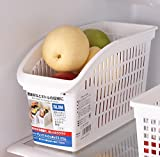 Cold-resistant Refrigerators Storage Basket Plastic Kitchen Cabinets Storage Organizer Containers (White)