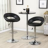 Countertop Bar Belleze Bar Stool Pub Modern Adjustable Swivel Hydraulic, Set of 2 Black