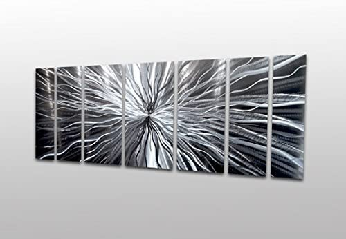 Silver Metal Wall Panels Modern Abstract Large Sculpture Cosmic Energy Contemporary Art Work Painting Home Decor